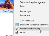 Selection from Windows Explorer Context menu