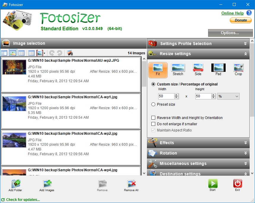 Fotosizer full screenshot